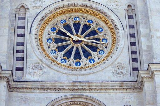 Clock, Rosette, St Denis, Basilica, Royal, Necropolis