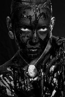 Model, Jewelry, Painted, Paint, Black, Beautiful