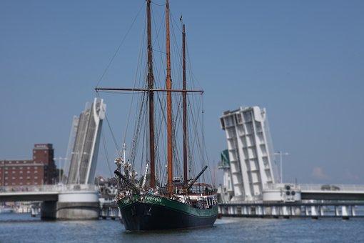 Three Mast Gaff Schooner, Sailing Vessel, Kappeln