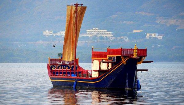 Traditional, Boat, Lake, Udipur, India, Travel