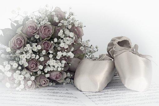Ballet Shoes, Dance, Roses, Bouquet Of Roses