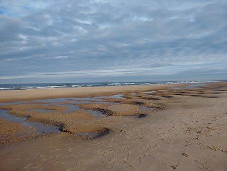 Bamburgh, Beach, Sky, Northumberland, England, Coast
