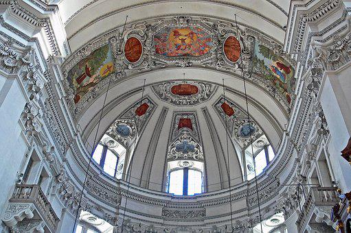Salzburg, Dom, Vault, Stucco, Painting, Cover Painting