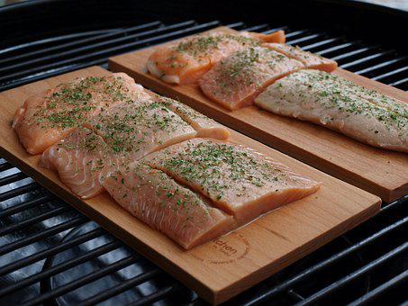 Salmon, Grill, Fish On A Plank, Grilled Salmon