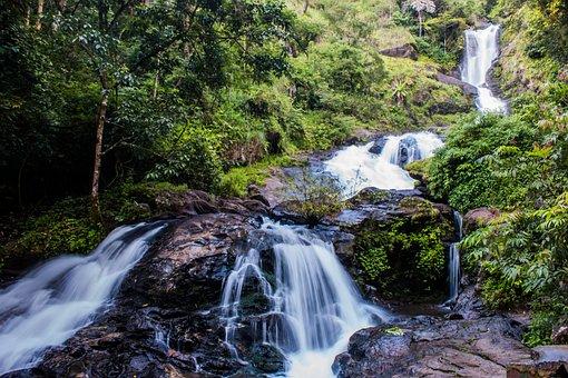Waterfall, Water, Scene, Nature, Landscape, Stream