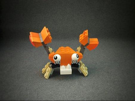 Crab, Lego, Orange, Animal, Sea Creature, Salt Water