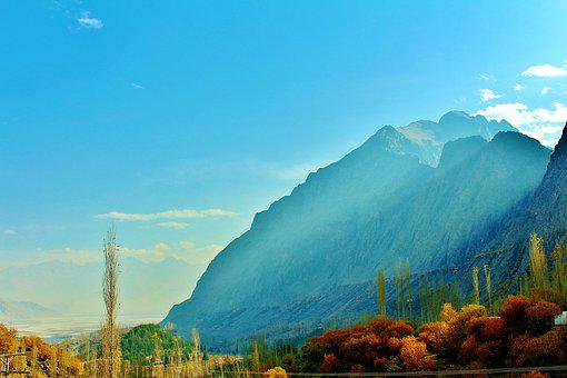 Mountains, Pakistan, Skardu, Tree, Sky, Blue, Air
