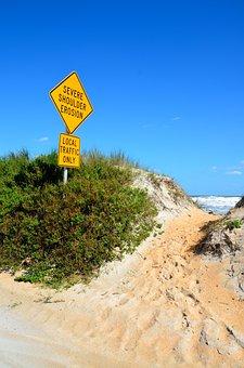 Beach Erosion Sign, Beach, Outdoors, Nature