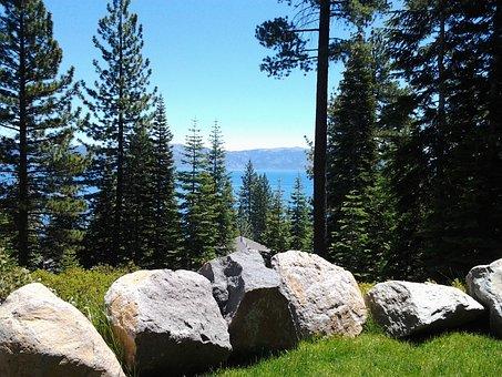 View, Lake Tahoe, Tahoe City, Nature, Landscape, Rocks