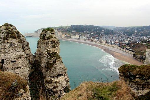 Etretat, France, Rock, White Cliffs, Normandy, Travel
