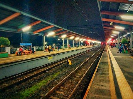 Senja, Twilight, Trainstation, Railway, Night, Light