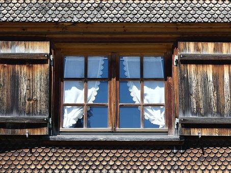 Window, Window Glass, Wood, Shingle, Shutter, Curtain