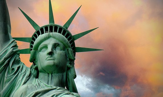 Statue Of Liberty, Turmoil, Stormy, Political, Clouds