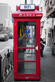 Red, Telephone Booth, Street, Shanghai, City