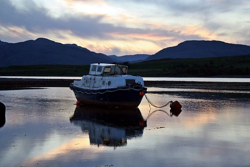 Boat, Anchorage, Sunset, Mirroring, Western Highlands