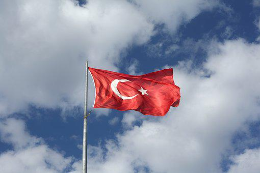 Flag, Turkish, Turkey, Red, Blue, Sky, Wind, Cloud