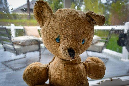 Vintage, Stuffed, Bear, Teddy, Toy, Old, Used, Worn