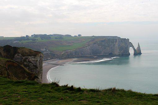 Etretat, France, Rock, White Cliffs, Normandy, Travel