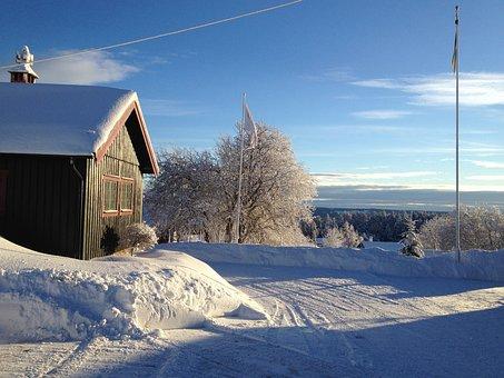 Winter, Chalet, Frost