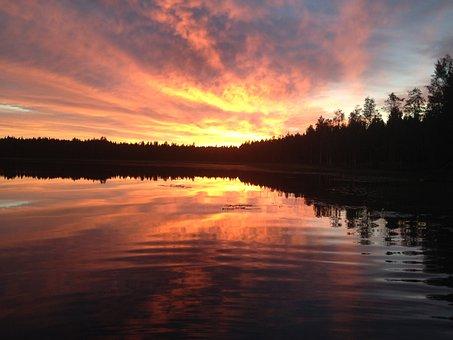 Auringonlasku, Järvi, Iltarusko