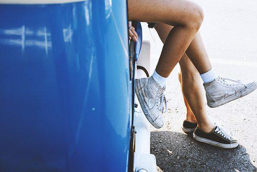 Car, Couple, Feet, Legs, Outdoors, Pair, Rest, Road