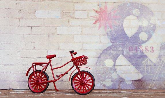 Bicycle, Red, Cycle, Wall, Urban, Bike, Vintage