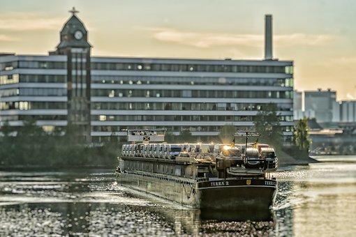 Port, Ship, Düsseldorf, Media Harbour, Transport