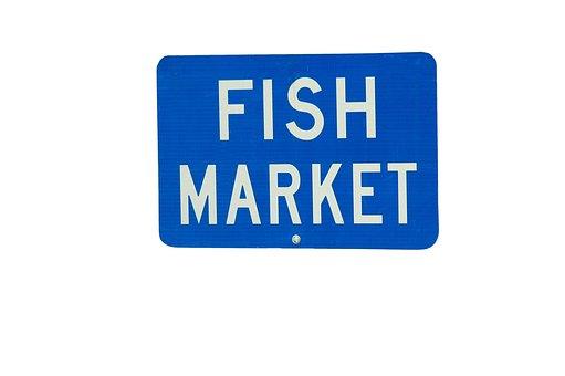 Fish Market, Sign, Signage Market, Fish, For Sale