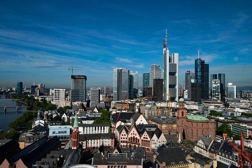 Frankfurt, Hesse, Germany, Skyline, Skyscraper