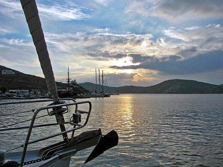 Greece, Cyclades, Ios, Sunset, Aegean Sea, Port