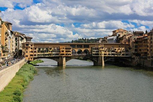 Florence, Italy, Arno, River, Ponte Vecchio, Tuscany