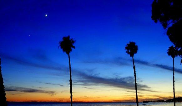 Los Angeles, Santa Barbara, Beach, Sunset, Light, Sea