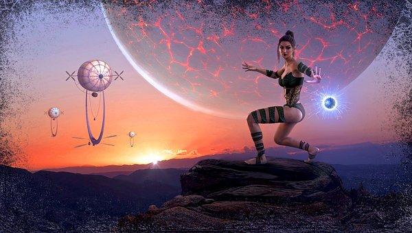 Fantasy, Planet, Composing, Atmosphere, Mood, Woman