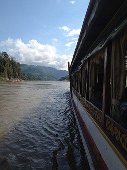 Boot, Mekong River, Laos, Vietnam, River, Ship