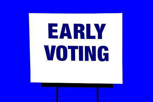 Early Voting, Sign, Isolated Background, Vote, Election