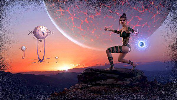Fantasy, Planet, Composing, Atmosphere, Mood, Woman