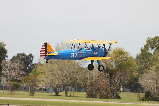 Bi-plane, Pilot, Plane, Air, Aviation, Flight, Fly, Sky