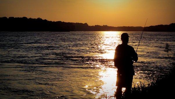 Angler, West, Sun, The Sun, River, Wisla, Rod, Fish