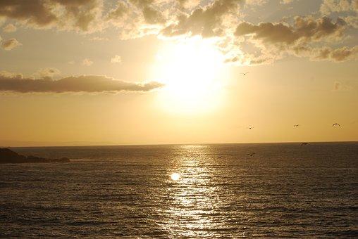 Sea, Asturias, Clouds, Sun, Landscape, Sky, Sunset