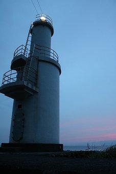 Lighthouse, Sea, Sunset, At Dusk, Sky, Blue, Red