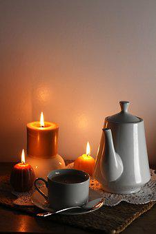 Candles, Tea, Coffee, Pot, Cup, Teatime, Hygge