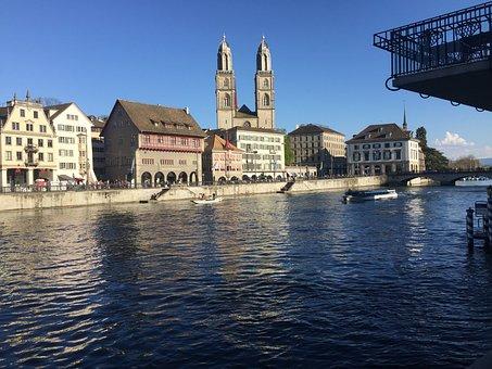 Limat, River, City, Zurich