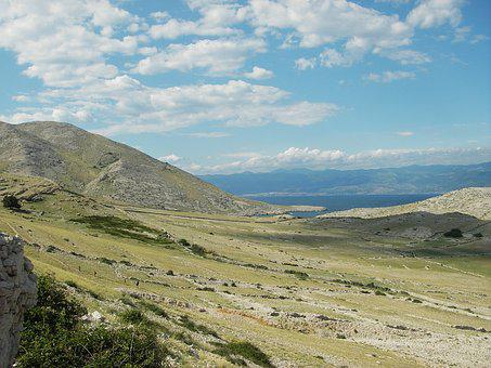 Croatia, Mountain, Steppe, Krk, Sea, Kvarner Bay