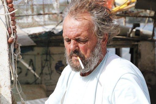 Sea, Istria, Fischer, Cigarette, Boot, Head