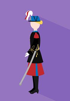 Soldier, Woman, Officer, Flat, Flat Design, Uniform