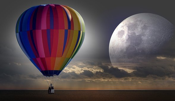 Balloon, Hot Air Balloon Ride, Mission, Moon, Sea