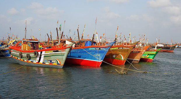 Boats, Fishing, Anchored, Port, Jetty, Fishing Boat
