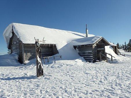 Chalet, Snow, Finland, Lapland, Winter