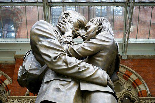 Statue, Adore, Love, Couple, Leaving