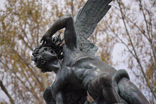 Angel, Lucifer, Horrified, Fallen Angel, Statue, Madrid